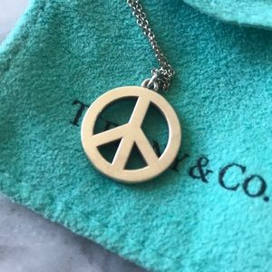Tiffany & Co. Peace Sign Necklace Sterling Silver